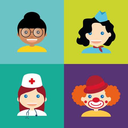 payasos caricatura: resumen personas con diferentes profesiones en las plazas de la pizca de color diferente
