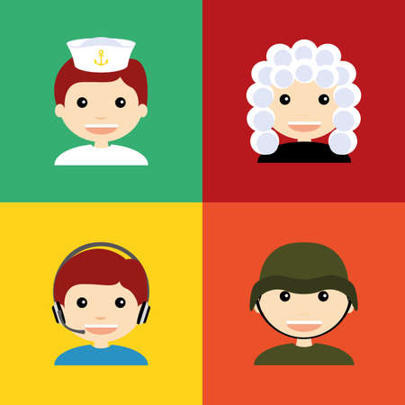 caller: abstract people with different professions on squares whit different color Illustration
