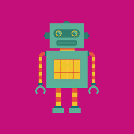 cute robot: abstract cute robot on a pink background