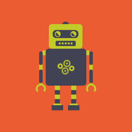 iron fun: abstract cute robot on an orange background