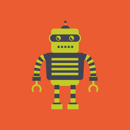 cute robot: abstract cute robot on an orange background