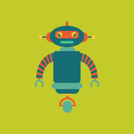green cute: abstract cute robot on a green background Illustration