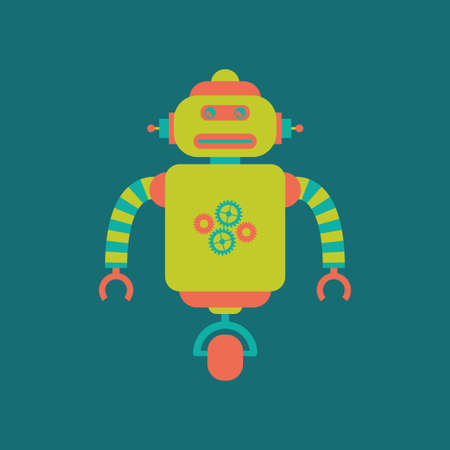 cute robot: abstract cute robot on a blue background