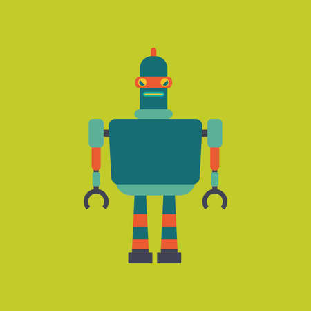 iron fun: abstract cute robot on a green background Illustration