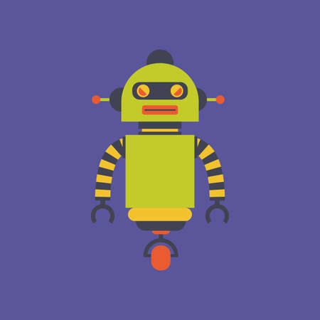 cute robot: abstract cute robot on a purple background