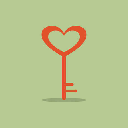 love icon: abstract love key on a green background
