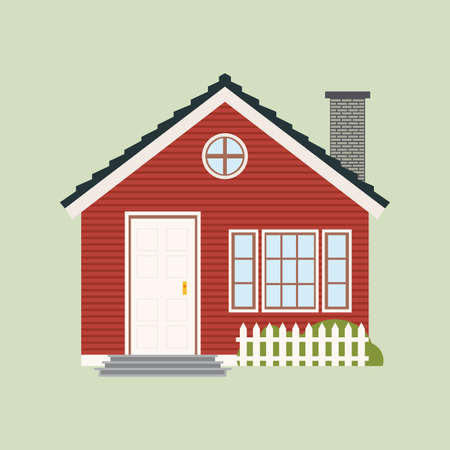cute house: abstract cute house on a light green background Illustration