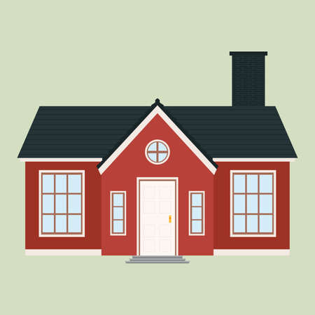 neighbor: abstract cute house on a light green background Illustration