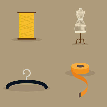 light brown: abstract sewing objects on a light brown background Illustration