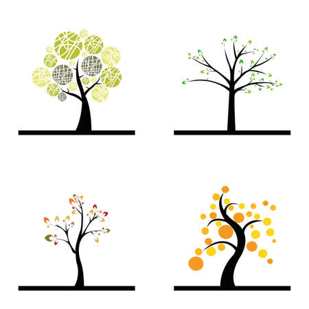 Cute abstract trees on a white background