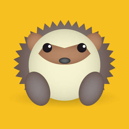 porcupine: abstract cute porcupine on a yellow background Illustration