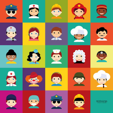 Abstract people with different professions on squares with different color