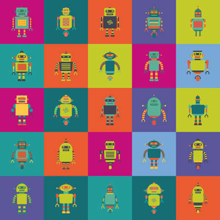 iron fun: abstract cute robots on squares with different color