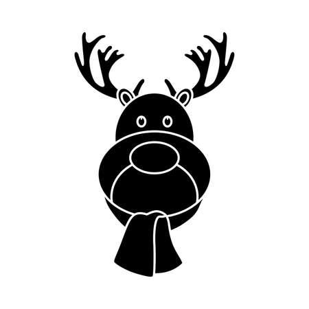 renos de navidad: Aislado icono de la Navidad en un fondo blanco. Ilustración vectorial