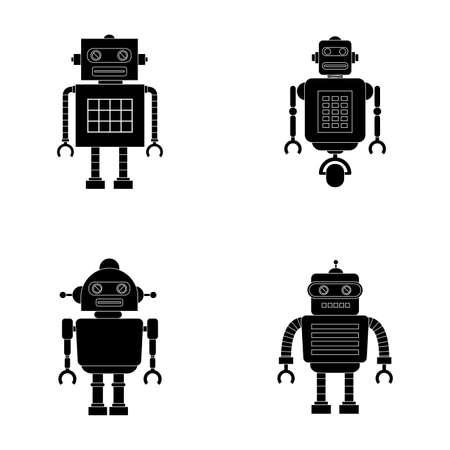 iron fun: abstract robot silhouettes on a white background