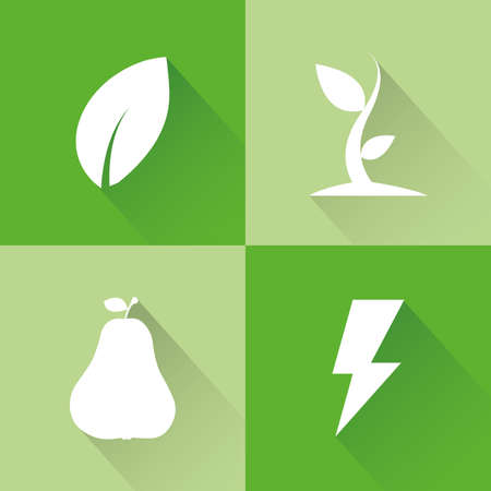 sostenibilit�: abstract sustainability icons on a green background