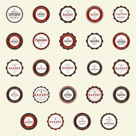 bakery products: abstract cupcakes labels on a white background Illustration