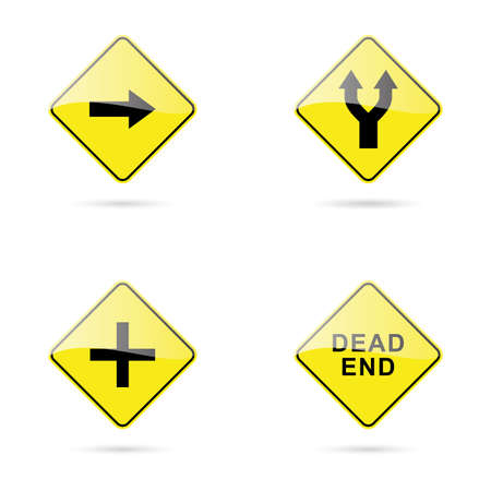 roadsigns: abstract traffic signals on a white background