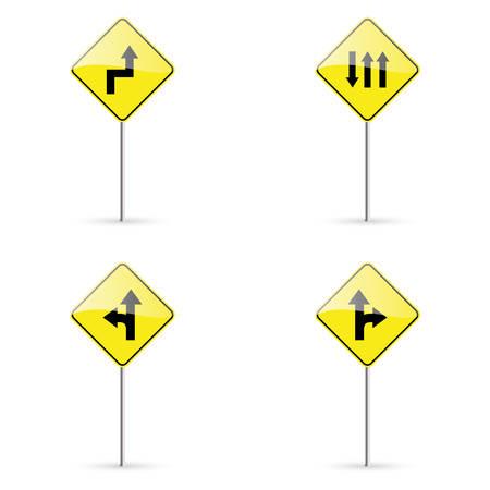 señales trafico: las señales de tráfico de resumen sobre un fondo blanco Vectores