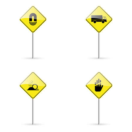 turn yellow: abstract traffic signals on a white background