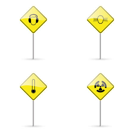 signals: abstract traffic signals on a white background