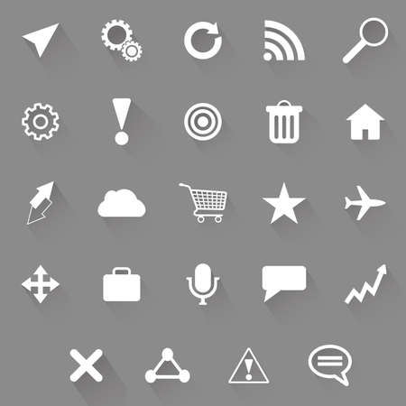 rubbish cart: Set of web icons on a grey background