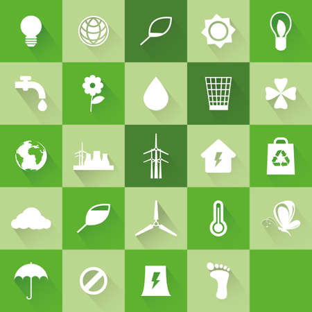 ecological: Set of ecological icons on green backgrounds Illustration