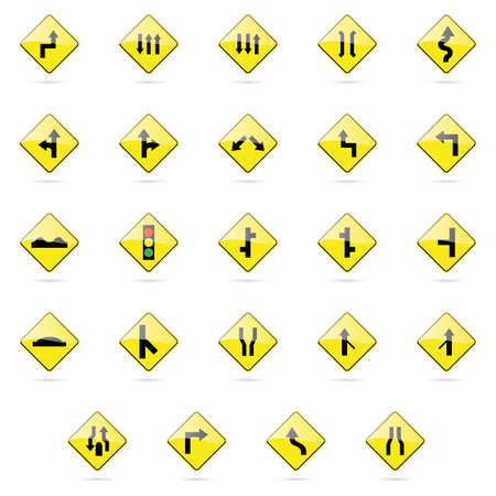 turn yellow: Set of transit signals on a white background Illustration
