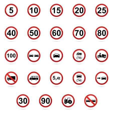 transit: Set of transit signals on a white background Illustration