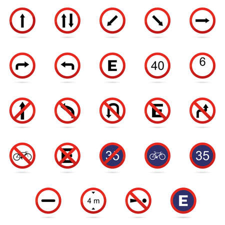 numbers clipart: Set of transit signals on a white background Illustration