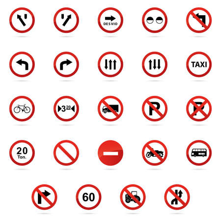 numbers icon: Set of transit signals on a white background Illustration