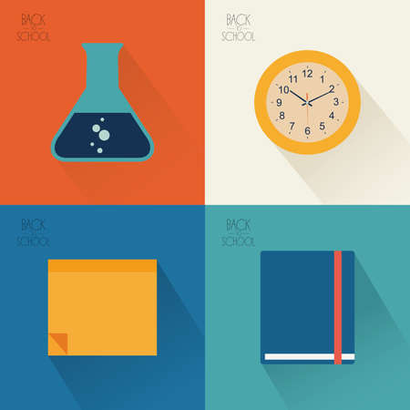 colored backgrounds: Set of school supply icons on different colored backgrounds