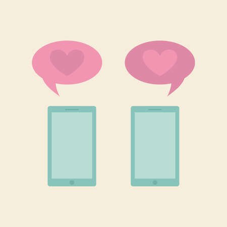 chats: Pair of cellphones with bubble chats on a colored background