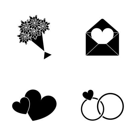 silhouetted: Set of silhouetted icons on a white background for valentines day