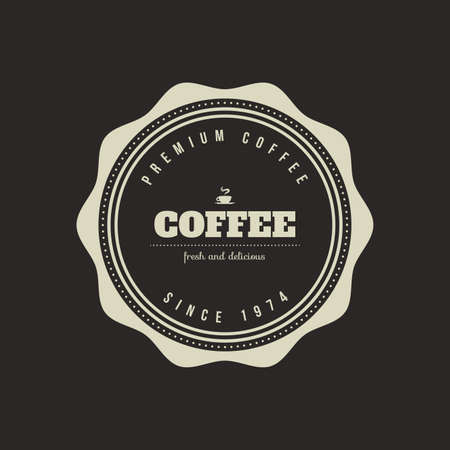 roaster: Isolated coffee label on a black background