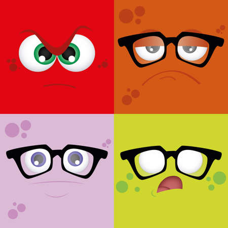 colored backgrounds: Set of colored backgrounds with different facial expressions