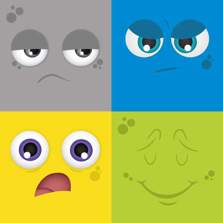 anger kid: Set of colored backgrounds with different facial expressions