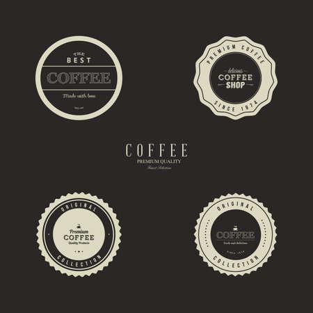 roaster: Set of coffee labels on a black background Illustration