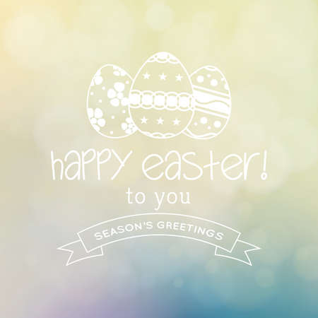 april clipart: Colored background with text and eggs for easter