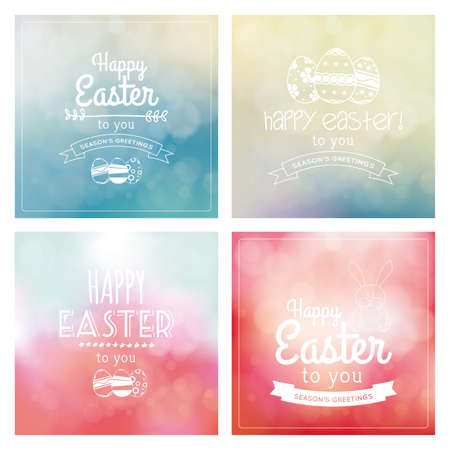 april: Set of colored backgrounds with text and eggs for easter
