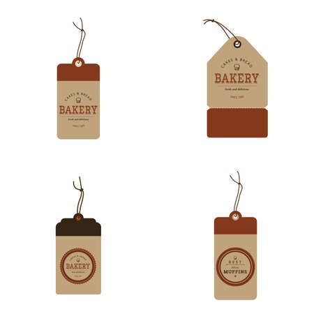 bakery products: Set of brown labels with text for bakery products