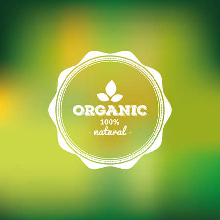 Colored background with a label with text for organic products