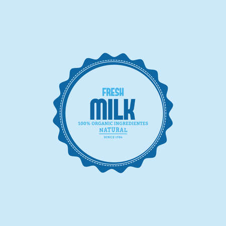 milk products: Isolated label with text and icon for milk products