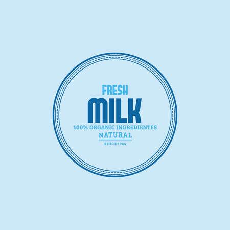 vacas lecheras: Label con el texto y el icono de los productos lácteos