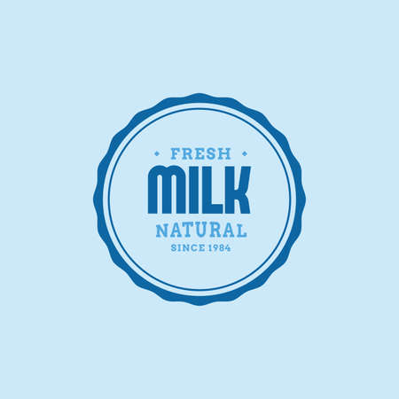 product icon: Isolated label with text and icon for milk products