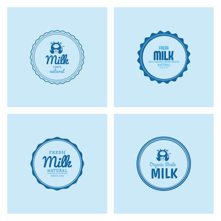 vacas lecheras: Conjunto de etiquetas con texto e iconos de los productos lácteos Vectores