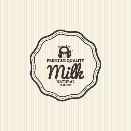 vacas lecheras: Label con el texto y un icono de los productos lácteos