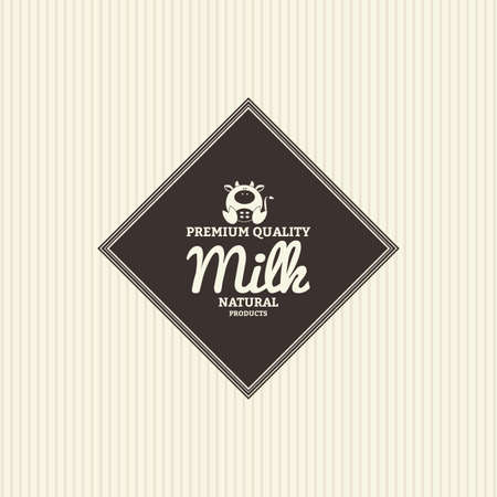 vacas lecheras: Isolated label with text and an icon for milk products