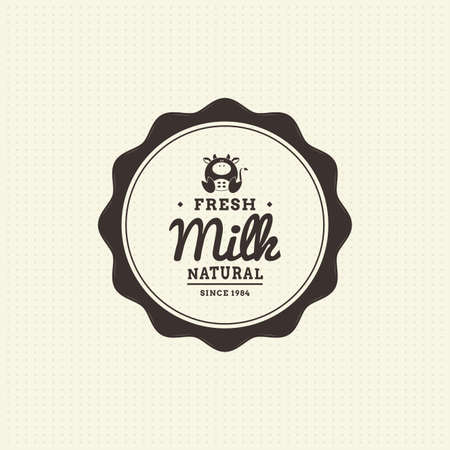 milk products: Isolated label with text and an icon for milk products