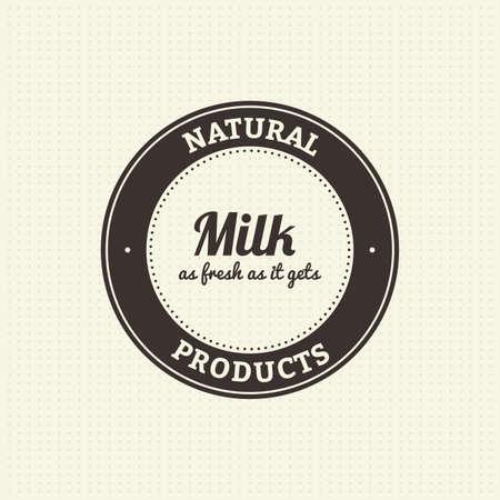 vacas lecheras: Label con el texto y un icono de los productos l�cteos